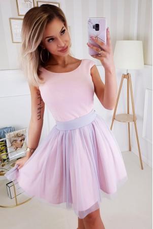Elegancka rozkloszowana sukienka Noel - różowa z szarym
