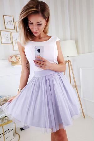 Elegancka rozkloszowana sukienka Noel - ecru z szarym