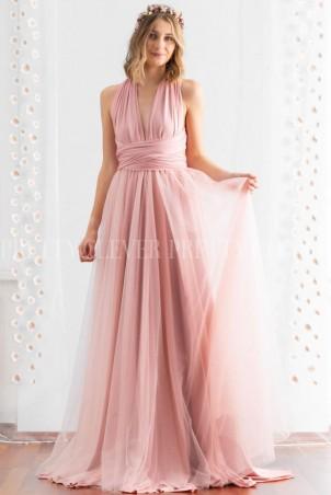 Długa sukienka wiązana na wiele sposobów z tiulem Infinity tulle - pudrowa