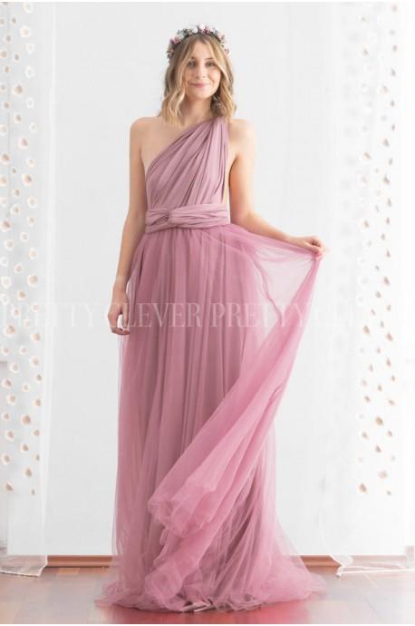 Długa sukienka wiązana na wiele sposobów z tiulem Infinity tulle -brudny róż