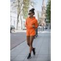 Damski komplet dresowy bluza z kapturem i krótkie spodnie dresowe Kango - pomarańcz