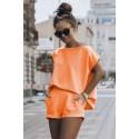 Damski komplet dresowy koszulka i krótkie spodnie dresowe Comfort - pomarańcz