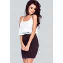 Wieczorowa sukienka z koronkową górą i ołówkowym dołem Milly - czerno-biała