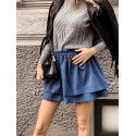 Rozkloszowana spódnica z falbanami Naomi - niebieska