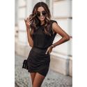 Komplet bluzka bez rękawów i marszczona spódnica Jessa - czarny