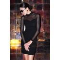 Dopasowana sukienka wieczorowa z siateczką Mindy - czarna