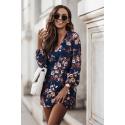 Sukienka dzienna odcinana w pasie Malvina w kwiaty - granatowa
