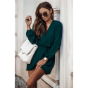 Sukienka dzienna odcinana w pasie Malvina - butelkowa zieleń