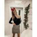 Dzianinowa mini spódnica Anabelle - biało-czarna