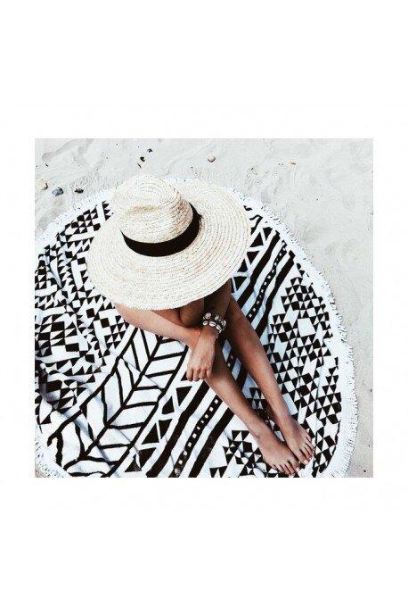 Ręcznik plażowy okrągły boho mandala black and white