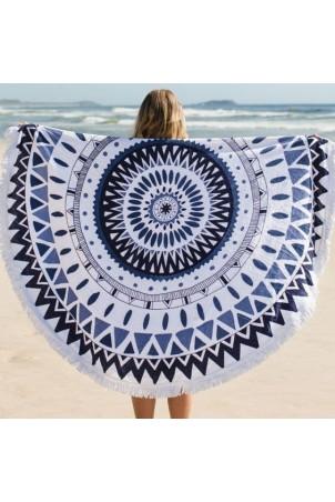Ręcznik plażowy okrągły boho mandala blue