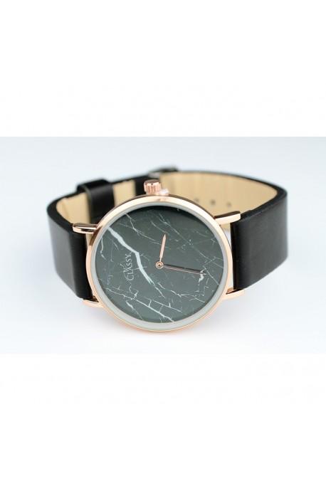 Zegarek classy na pasku - marmur czerń